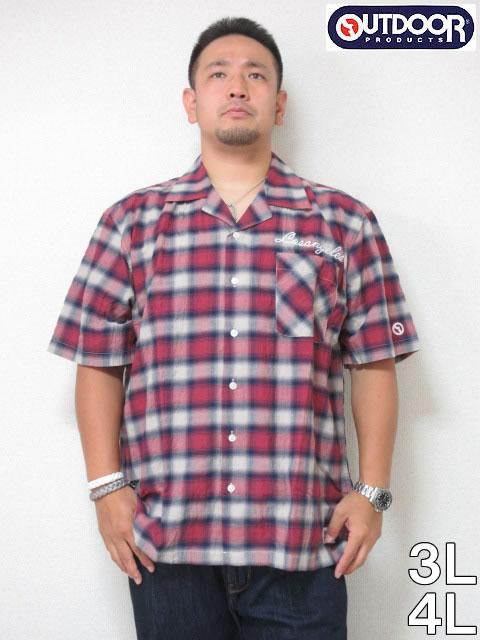 (大きいサイズメンズ通販デビルーズ)OUTDOOR(アウトドア)綿麻オンブレチェック半袖オープンシャツ<ワイン系>