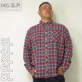 (本州送料無料)Mc.S.P-チェック長袖B.Dネルシャツ(メーカー取寄)3L 4L 5L 6L 8L シャツ