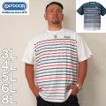 (本州四国九州送料無料)OUTDOOR PRODUCTS-DRYメッシュパネルボーダー 半袖 Tシャツ(メーカー取寄)3L 4L 5L 6L 8L ドライ