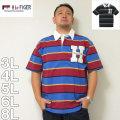 (本州四国九州送料無料)H by FIGER-ボーダー半袖ラガーシャツ(メーカー取寄)3L 4L 5L 6L 8L ラガーシャツ ラグビーシャツ オシャレ さわやか