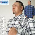 大きいサイズ メンズ OUTDOOR PRODUCTS-ワッペン付チェック長袖シャツ(メーカー取寄)アウトドア プロダクツ 3L 4L 5L 6L 8L ネルシャツ