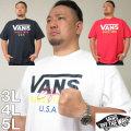 大きいサイズ メンズ VANS-FLV USA半袖Tシャツ(メーカー取寄)バンズ/3L/4L/5L