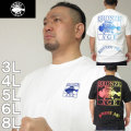 大きいサイズ メンズ BRONZE AGE-刺しゅう&プリント半袖Tシャツ(メーカー取寄)ブロンズエイジ 3L 4L 5L 6L 8L