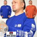 大きいサイズ メンズ BEN DAVIS-天竺長袖Tシャツ(メーカー取寄)ベン・デービス 3L 4L 5L 6L