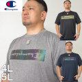 大きいサイズ メンズ Champion(チャンピオン)C VAPOR ホログラム ドライ 半袖 Tシャツ 速乾 抗菌 防臭 4L/5L
