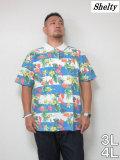(大きいサイズメンズ通販デビルーズ)SHELTY(シェルティ)ボタニカルボーダー半袖ポロシャツ<ブルー>