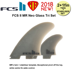 FCS2 フィン MR NEO GLASS Tri Set  MR's twin + stabiliser template  MINI TWIN・THE TWINに最適![fcs2-fin107]