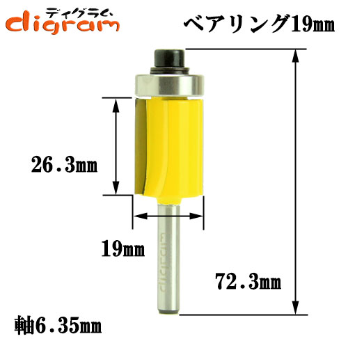 トリマー ビット フラッシュトリム 1/4軸 ( 刃径 19.0mm ) Microtungsten carbide 【dm12503】