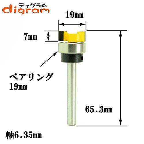 トリマー ビット トップベアリング トリム パターン 1/4軸 ( 刃径 19.0mm ) Microtungsten carbide 【dm12505】