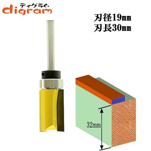 トリマー ビット トップベアリング トリム パターン 1/4軸 ( 刃径 19mm ) Microtungsten carbide 【dm12506】