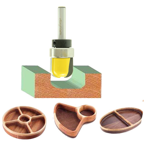 トリマー ビット ディッシュカッター Bowl&Tray ( ベアリング付き ) 1/4軸 Microtungsten carbide 【dm12801】
