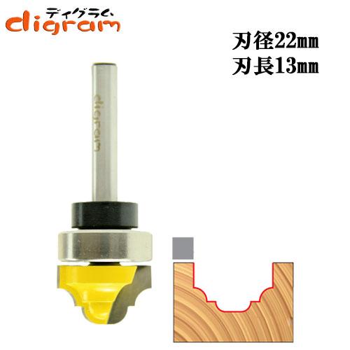 トリマー ビット トップベアリング クラッシク カーブ & ビートグローブ 1/4軸 ( 刃径 22mm ) Microtungsten carbide 【dm12803】