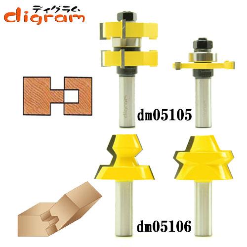 ルーター ビット タン & グルーブ ロック 2組 セット 1/2軸 Microtungsten carbide 【dms05104】