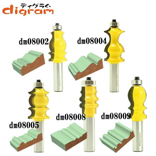 ルーター ビット ピクチャー フレーム ( クラッシック ) 5組 セット 1/2軸 Microtungsten carbide 【dms08001】