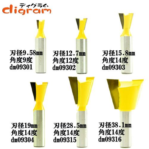 ルーター ビット アリ錐 スペシャル 6組 セット 1/2軸 Microtungsten carbide 【dms09301】