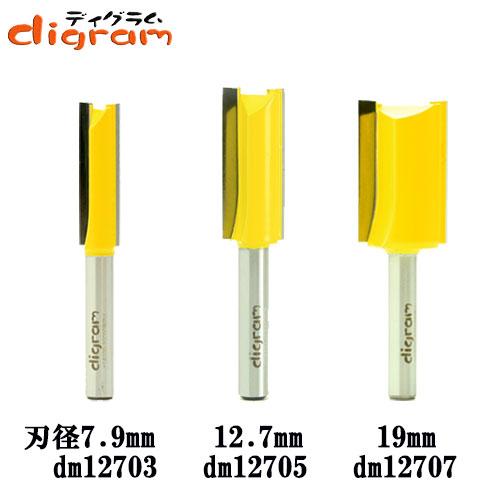 トリマー ビット ストレート 3組 セット 1/4軸 Microtungsten carbide 【dms12702】