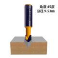 ルータービット V溝1枚刃 1/2軸 ( 刃径9.53mm、角度45°) 【5008】