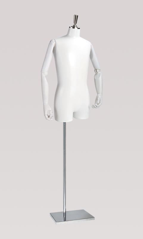 メンズトルソー 可動腕付き 長方形スチールベース S/M/Lサイズ ホワイト [SG973P-1W101]