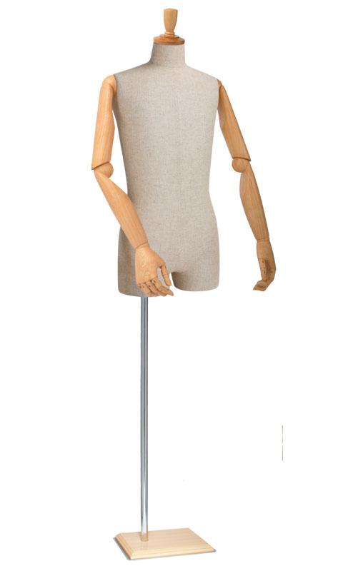 紳士マネキン 可動腕付き 芯地張り ツノヘッド 長方形ベース S/M/Lサイズ [SG983P-1C104]