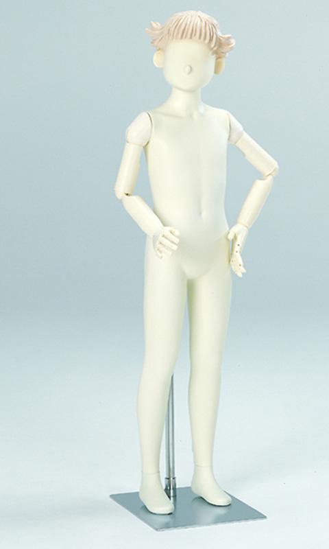 子供全身マネキン 可動腕付き ウエストリフト 11才 女児 ガール 専用スチール台 [KB21-G7-A7V-11Y-PP28CM]