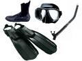 男のブラック 軽器材セット TUSA&AQUALUNG(4点セット)