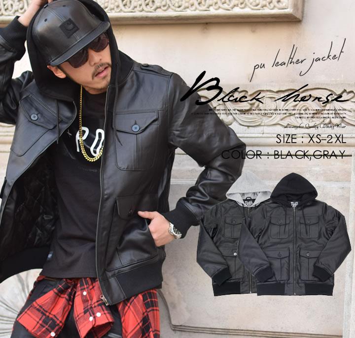 BLACK HORSE (ブラックホース) PUジャケット 前にポケット4つ BHJT007