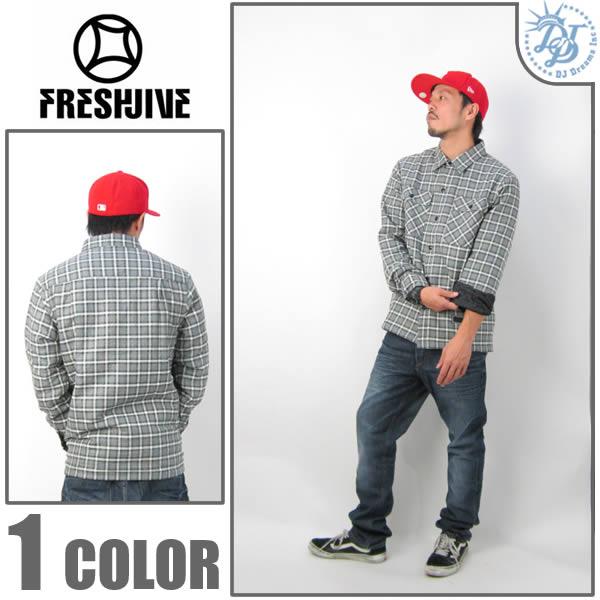 FRESHJIVE(フレッシュジャイブ)シャツジャケット(チェック)1150326 グレー(灰色)
