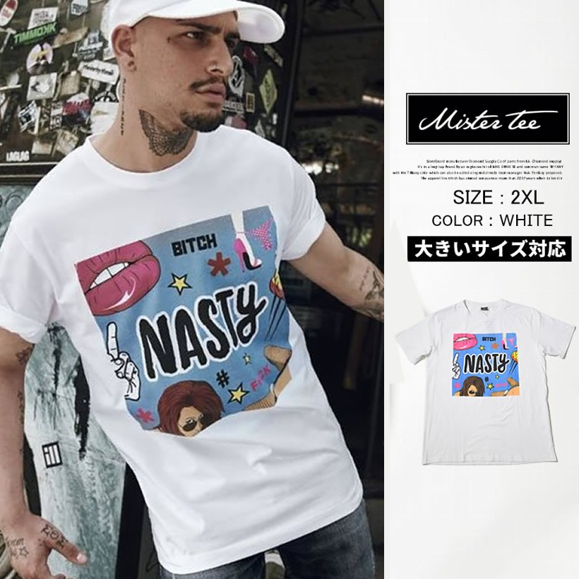 MISTER TEE ミスターティー 半袖Tシャツ メンズ 大きいサイズ NASTY MT520 b系 ヒップホップ ファッション MTTT017