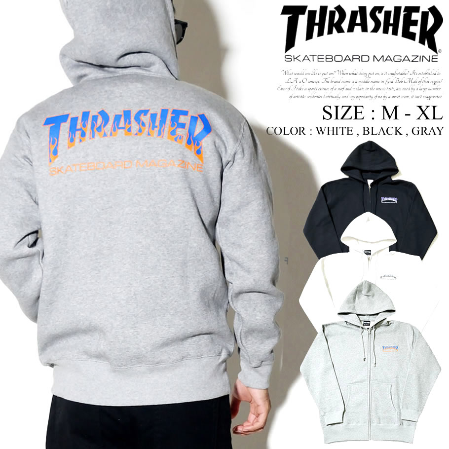 THRASHER スラッシャー ジップパーカー メンズ ZIP HOOD MAG LOGO ロゴ スケボー スケーター スケート ストリート系 ファッション TH8662B 服 通販