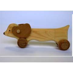 【♪手作り♪】 天然木使用 木のおもちゃ ダックス ☆ちいさいワンコ☆