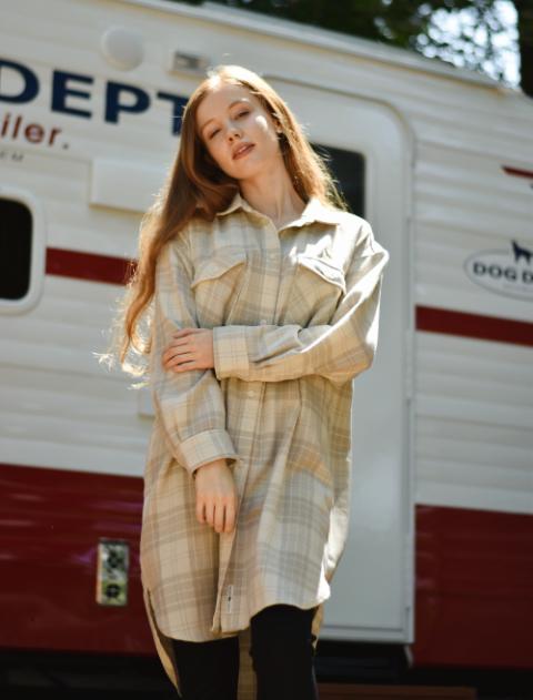 【WOMEN】ウール調チェックシャツ