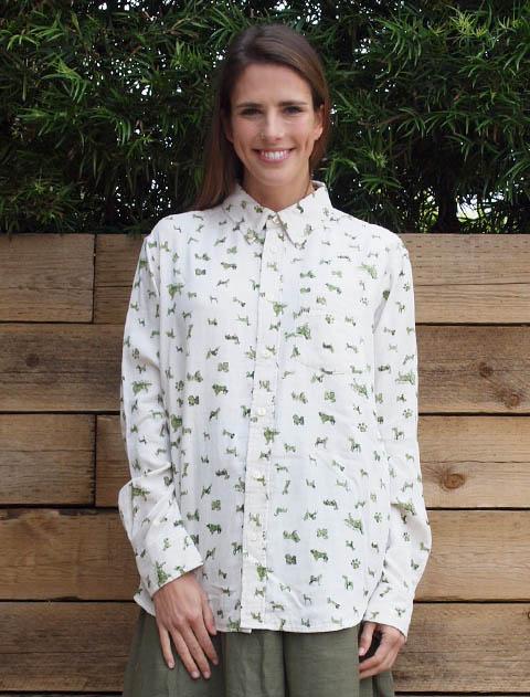 【WOMEN】Wガーゼ DOGスタンプシャツ
