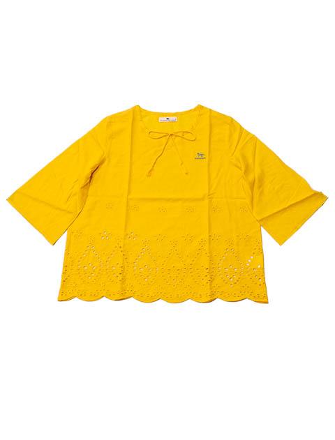 【WOMEN】スカラップ キーネックシャツ