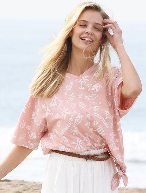 【WOMEN】アロハ柄 裾リボンシャツ