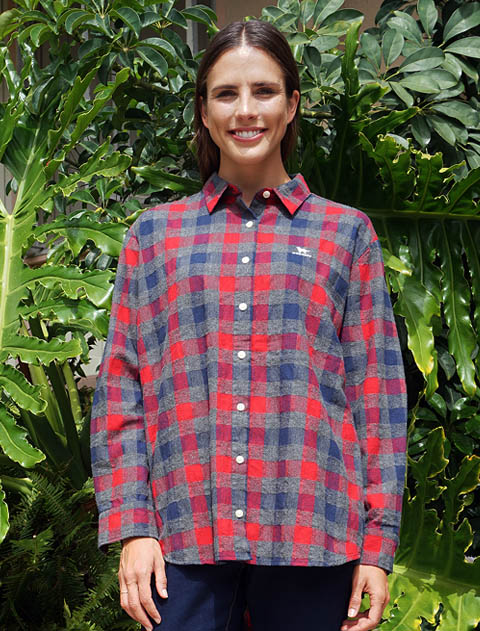 【WOMEN】パナマ起毛 長めチェックシャツ
