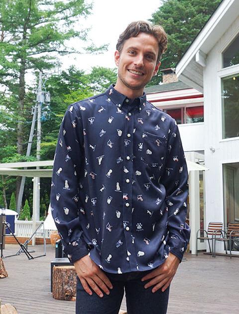 【UNISEX】ドッグパターン B/Dシャツ