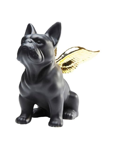 【GOODS】Deco Figurine Sitting Angel Dog Gold-Black
