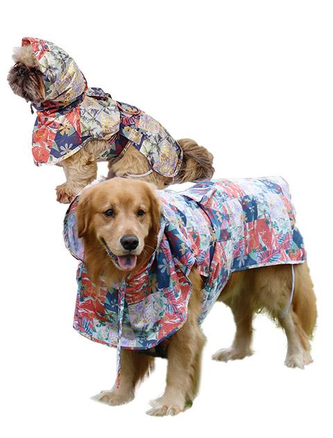 【DOG WEAR】ボタニカル ドッグレインポンチョ