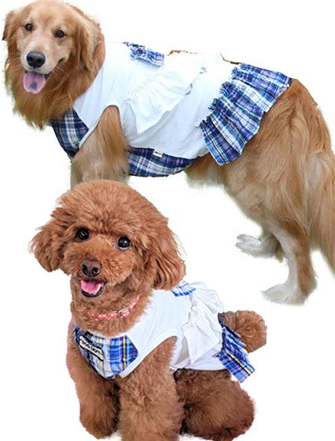 【DOG WEAR】チェックペア フリルノースリーブ