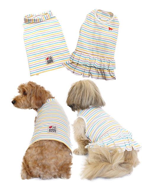 【DOG WEAR】パステルマルチボーダーペア