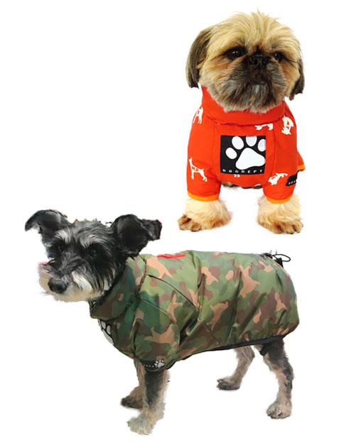 【DOG WEAR】総柄サイドファスナーコート