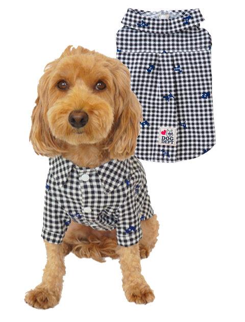 【DOG WEAR】犬柄ギンガムペア シャツ
