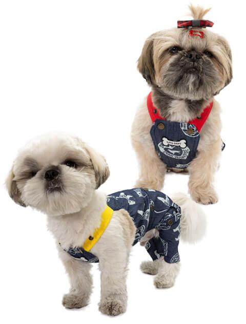 【DOG WEAR】デニム総柄ロゴ サロペット