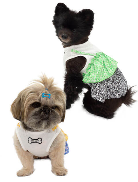 【DOG WEAR】花柄レイヤーノースリーブ