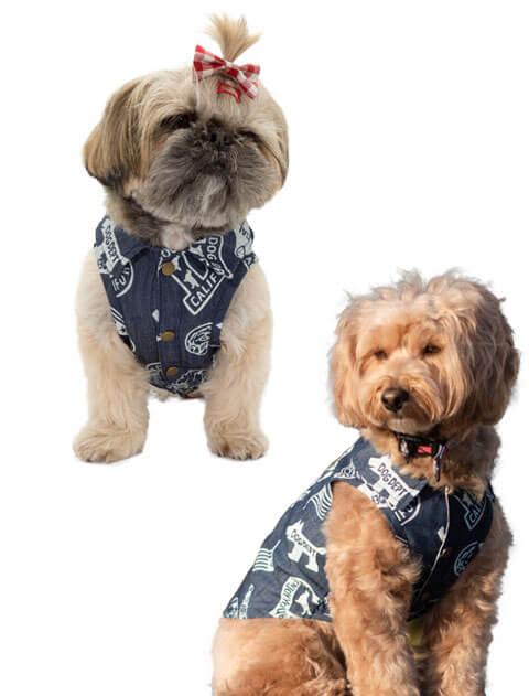 【DOG WEAR】デニム総柄ロゴ シャツ