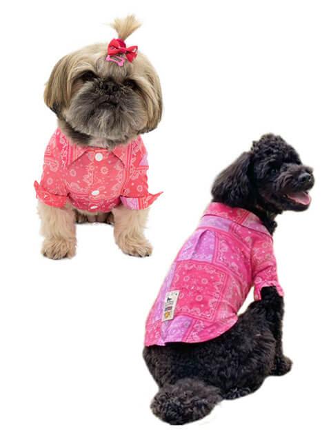【DOG WEAR】ペイズリーパッチワーク長袖シャツ