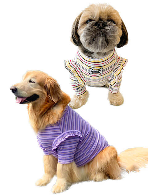 【DOG WEAR】レトロボーダーフリルカットソー