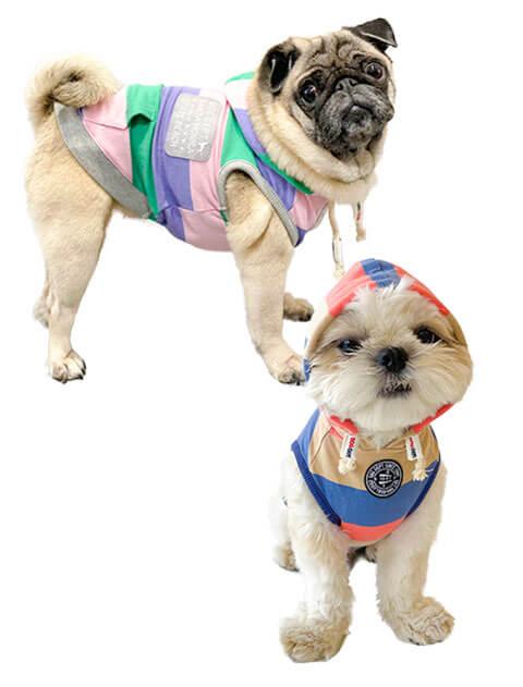 【DOG WEAR】レトロボーダー ノースリーブパーカー