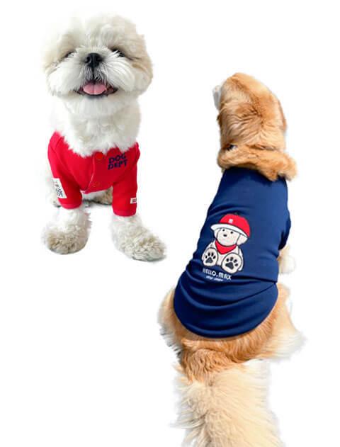 【DOG WEAR】Baby.max アップリケボタンカーデ