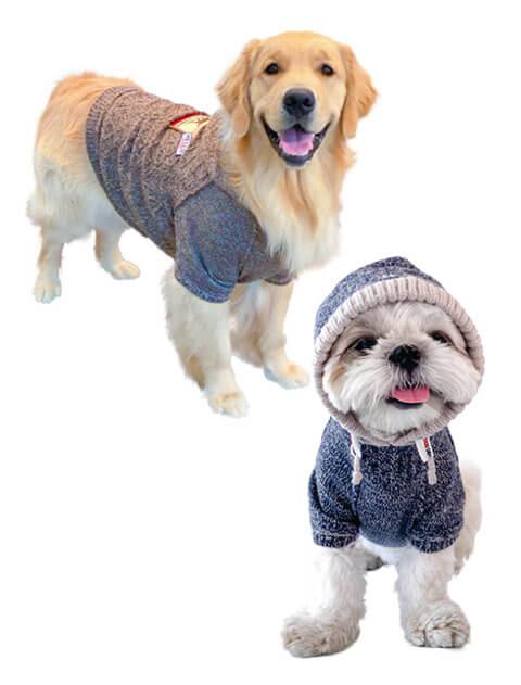 【DOG WEAR】三子糸 ワッペンニットパーカー